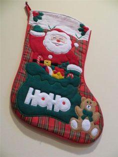 Santa Claus Christmas Xmas Stocking Holly Santa Teddy Bear Presents