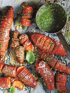 Sweet potato hasselbacks with basil salsa verde | Donna Hay
