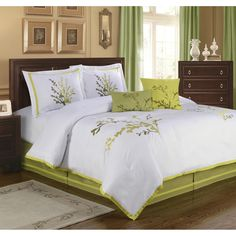 Add color and style to your bedroom with this Nature's Way comforter set. The comforter features embroidery in shades of green on crisp white ground of brushed micro denier. Bedroom Sets, Bedroom Decor, Bedrooms, Dark Wood Furniture, Bed Sets, Bed Spreads, Home Fashion, Comforter Sets, Comforters
