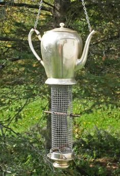 recycled antique silver coffee server. bird feeder