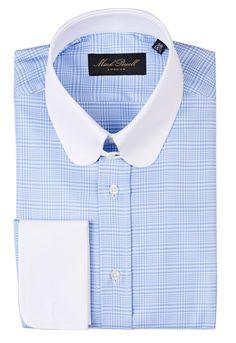 Round Tab Collar Shirt Bold Checked Blue/white - Mark Powell