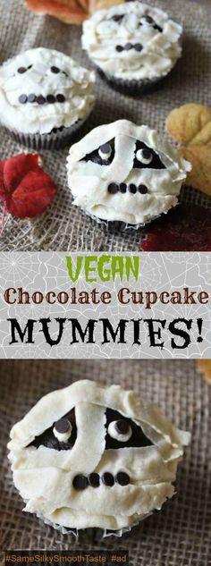 Vegan chocolate cupcakes with vanilla buttercream frosting, decorated like mummies! A perfect Halloween dessert recipe! @lovemysilk @walmart #SameSilkySmoothTaste #ad www.veganosity.com