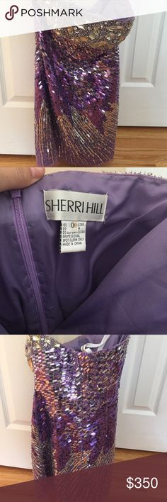 Sherri Hill sequence dress Beautiful Sherri Hill strapless dress. Shades of purple. Worn once to a prom. No missing stones. Tag says size 0 but the inseam was let out so it would probably fit a size 2! Make offers:) Sherri Hill Dresses Prom
