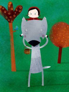Nicolas Gouny, Little Red Riding Hood Little Red Ridding Hood, Red Riding Hood, Charles Perrault, Cute Illustration, Cute Art, Illustrators, Fairy Tales, Creations, Character Design
