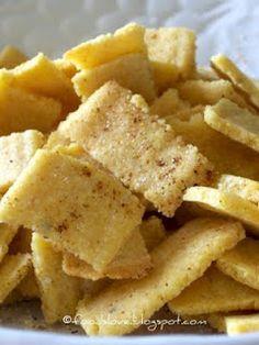 Homemade Corn Chips 350 - Mix 1Cyellow cornmeal 2/3Cflour 1tsalt 1tbak ...