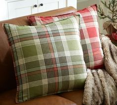 Jackson Plaid Pillow Cover #potterybarn  Love the red one, looks so comfortable.