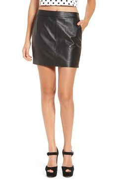 Free shipping and returns on Leith Leather Miniskirt at Nordstrom.com. Add some edge to your wardrobe with this flirty miniskirt crafted from supple black leather. Pair it with your favorite old band merch for a full-on rocker vibe, or mix and match it with your favorite knits for a more demure effect.