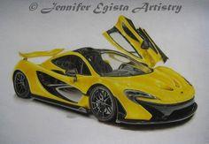 """McLaren P1"". Colored pencils Polychromos and Prismacolor on Fabriano F4 paper. Dimensions: 13x18 inches.    www.facebook.com/jenniferegista  #McLaren #McLarenP1 #drawing #coloredpencils #jenniferegista #prismacolor #polychromos #fabriano #supercar #jenniferegistaartistry"