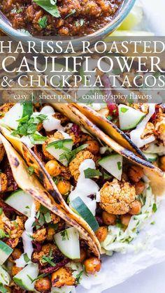 Vegetarian Tacos, Best Vegetarian Recipes, Raw Food Recipes, Veggie Recipes, Mexican Food Recipes, Healthy Recipes, Good Gluten Free Bread Recipe, Roasted Cauliflower, Bean Recipes