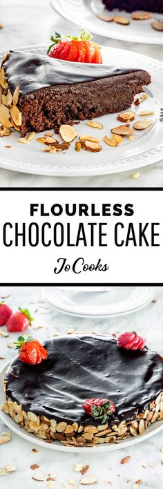 This is the best Flourless Chocolate Cake recipe out there! It is incredibly simple to make and has an absolutely delicious texture! Best Flourless Chocolate Cake, Easy Chocolate Ganache, Flourless Desserts, Chocolate Recipes, Sweet Desserts, Sweet Recipes, Delicious Desserts, Cake Recipes, Snack Recipes