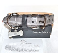 COACH Mink Croc Embossed Leather Dog Collar w/ Bone Charm size Small NWT #Coach