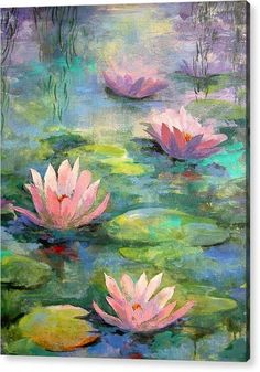 Waterlilies Canvas Print / Canvas Art by Madeleine Holzberg : Canvas Prints Canvas Print featuring the painting Waterlilies by Madeleine Holzberg Water Lilies Painting, Pond Painting, Lily Painting, Acrylic Painting Flowers, Spring Painting, Watercolor Paintings, Lotus Flower Art, Canvas Art, Canvas Prints