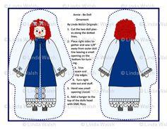 Annie - Be Cut and Sew Doll Ornaments - Linda Walsh Originals - Custom Fabric Designs By Linda Walsh