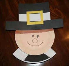 Preschool Crafts for Kids*: Thanksgiving Pilgrim Boy Paper Plate Craft