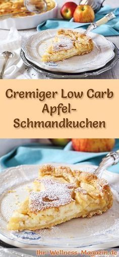 Cremiger Low Carb Apfel-Schmandkuchen - Rezept ohne Zucker - Low Carb Kuchen - Recipe for a low carb apple sour cream cake – low carbohydrate, reduced in calories, without sugar and corn flour Low Carb Sweets, Low Carb Desserts, Dessert Recipes, Paleo Dessert, Diet Desserts, Apple Sour Cream Cake, Apple Cake, Cake Recipe Without Sugar, Law Carb