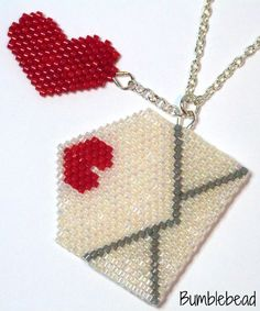 This is a fun little pendant or charm, woven in odd count peyote stitch. The envelope opens and the little heart motif can be put inside it. The tutorial gives detailed, step by step instructions, including close up photography, explaining odd count peyote and how to decrease a row.