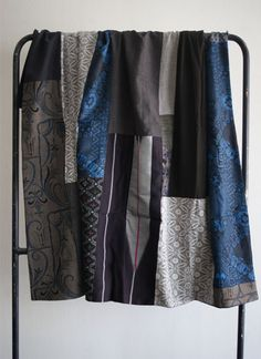 $320 A great vintage kimono blanket with stunning blue patches. Come grab it at our online store.