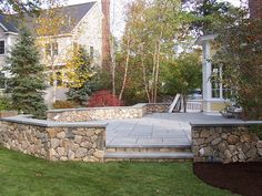 fieldstone retaining wall for patios | Patios Gallery - The Garden Continuum