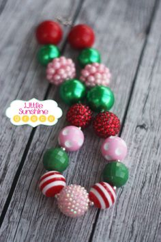 Merry Christmas Chunky Bubblegum Necklace by LittleSunshineGrace, $12.00