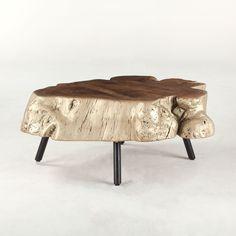 "Willow Gold Stump 34"" Coffee Table in Organic Shape Acacia #dynamichome #table #homedecor #natural #organic #interiors #interiordesign #unique #furniture #stump #furniture #livingroom #gold"