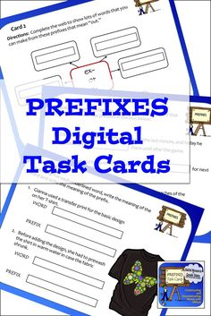 Set of 30 task cards about using prefixes on Google slides for students to use on their tablets or computers, for language arts classes in fourth, fifth, sixth, and seventh grades. Word Map, Multiple Meaning Words, Root Words, Vocabulary Activities, Seventh Grade, Prefixes, Syllable, Common Core Standards, Upper Elementary