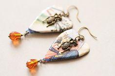 Beetle Earrings Colorful Earrings Beetle by MusingTreeStudios