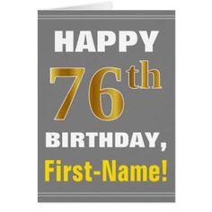 Bold Gray Faux Gold 76th Birthday w/ Name Card - merry christmas diy xmas present gift idea family holidays