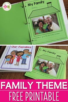Here is a free family theme printable for you. It is a great activity to add to your Thanksgiving, all about me, or family theme lesson plans. Use the pages individually or bind them to create a class book (cover included) Perfect for preschool, pre- Preschool Lesson Plans, Preschool Class, Kindergarten Activities, All About Me Activities For Preschoolers, Activities About Family, Kindergarten Family Unit, 3 Year Old Preschool, Kindergarten Thanksgiving, Summer Activities