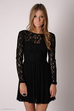 journey long sleeve lace cocktail - black