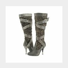 Baby fat boots NWOT or box. Pewter, brown, and gold baby phat fortuna boots. Stylish and sexy with lots of bling. Baby Phat Shoes Heeled Boots