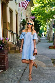 Stylish casual outfits collection to express your patriotism on the Of July. Best looks with blue, red and white colors, along with stripes and gingham. Cute Dresses, Casual Dresses, Short Dresses, Casual Outfits, Cute Outfits, Preppy Mode, Preppy Style, Trend Fashion, Womens Fashion