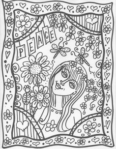Hippie Custom Coloring Book coloring book pages by DawnCollinsArt