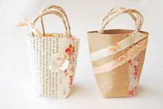 """""""stellaire: mini gift bags"""" :: stamps & washi tape could do this ..."""
