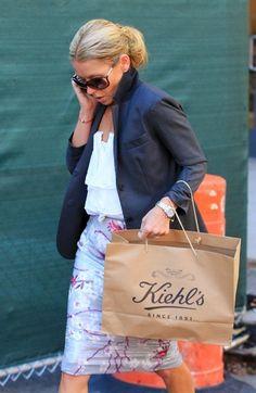 Kelly Ripa- street style. Sunglasses, blazer and skirt while shopping
