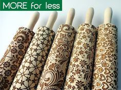 Not sure what these would be like to clean but they sure look cute and nifty! 5 ANY pattern Rolling Pin SET. Lazer engraved embossing rolling pins for embossed cookies. Choose your patterns! Gift for birthday.