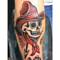 cowboy traditional old school tattoo flash | Tattoo, Tattoo Design, Tattoo Patterns, Tattoo Stencils For Facebook ...