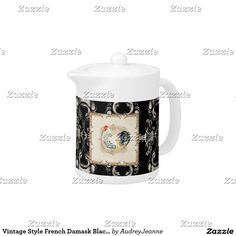 Vintage Style French Damask Black n White Rooster Teapot