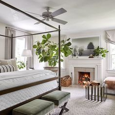 traditional bedroom design with metal four poster bed and white bedding, fiddle fig and fireplace design in neutral bedroom design Modern Bedroom, Home, Bedroom Inspirations, Traditional Bedroom, Home Bedroom, Rustic Bedroom, Dreamy Bedrooms, Cheap Living Room Decor, Beautiful Bedrooms