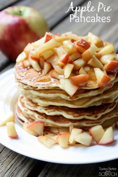 Apple Pie Pancakes recipe from TastesBetterFromScratch.com My FAVORITE fall pancakes!!
