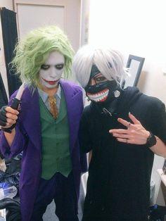 DIAURA - Kei cosplaying as the Joker, while Yo-ka cosplays as Kaneki from Tokyo Ghoul! <3