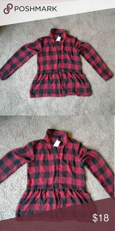 Sally Miller Red and Black Sheer Plaid Shirt Top says xl but fits more like a large Tops Button Down Shirts