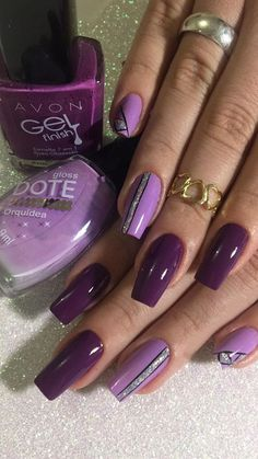 What Christmas manicure to choose for a festive mood - My Nails Purple Nail Art, Purple Nail Designs, Best Nail Art Designs, Colorful Nail Designs, Great Nails, Fabulous Nails, Gorgeous Nails, Cute Acrylic Nails, Glitter Nails