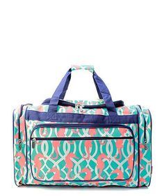 f5fe4fae279 Monogram Seahorse duffle bag Personalized duffle bag  weekends over night  bag duffle