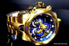 Men Invicta Reserve Venom Swiss Master Calendar Gold Plated Blue Steel Watch New | eBay