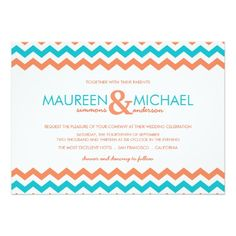 Custom Orange & Aqua Chevron ZigZag Wedding Invitations created by decor_de_vous. This invitation design is available on many paper types and is completely custom printed. Chevron Wedding Invitations, Wedding Invitation Kits, Invites, Invitations Online, Simple Wedding Cards, Wedding Ideas, Wedding Stuff, Wedding Inspiration, Native American Wedding