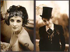 bride & groom..vintage magician inspired