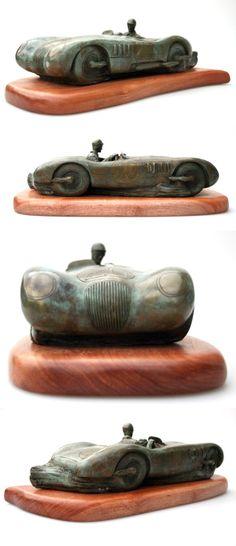 Jaguar C-Type (Le Mans 1951) Bronze Sculpture by Esteban Serassio