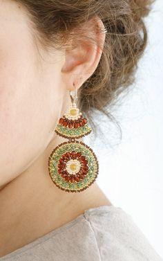 Beadwork earrings-mandala-very Long-green and brown.