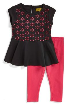 Nicole+Miller+Laser+Cut+Peplum+Tunic+&+Leggings+(Baby+Girls)+(Online+Only)+available+at+#Nordstrom