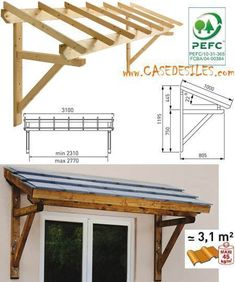 Auvent en bois en Promotion : Auvent bois porte et fenêtre 1 pan MAR3110 #pergolaplans